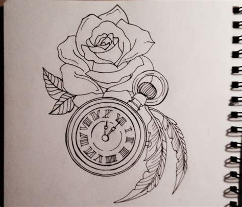 rose tattoo desing clock desing