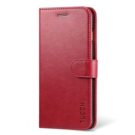 tucch iphone   wallet case iphone   case pu leather flip wallet case red
