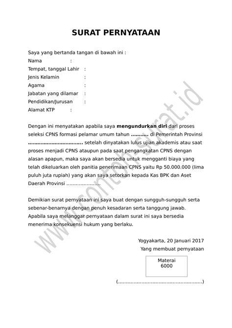 Contoh Surat Pernyataan Cpns by Cara Membuat Surat Pernyataan Dan Contoh Lengkapnya