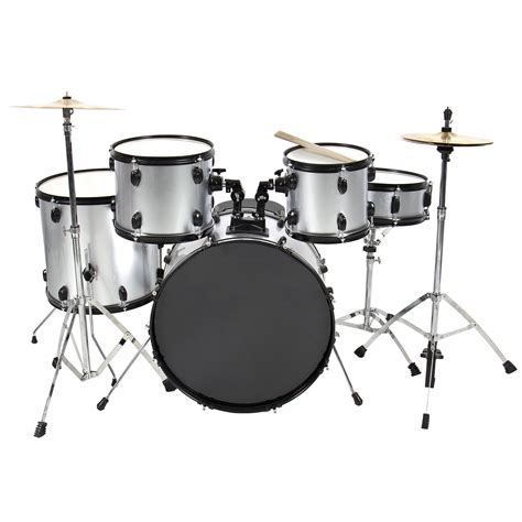 drum with drum set 5 pc complete set cymbals size silver