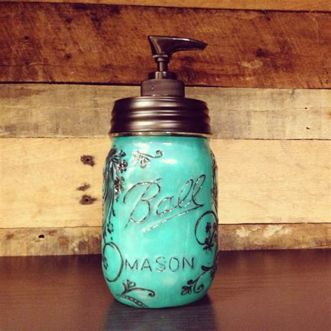home decor jars turquoise colored mason jar soap dispenser with design