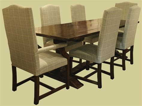 Headland Range Style Dining Chairs Solid Oak Period Style Pedestal Dining Table With 6 Upholstered Oak Chairs