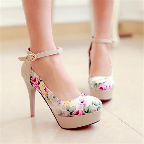 plus size new fashion flower print high heels platform