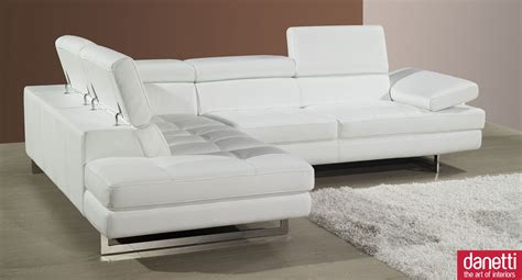 Home Element Modern Leather Corner Sofa Adjustable White Corner Sofa Leather