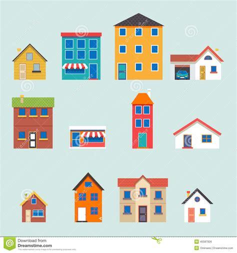 set houses drawings stock photo photo vector illustration modern trendy retro house street flat icons set stock