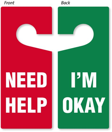 need help i m okay door hanger double sided hang tags