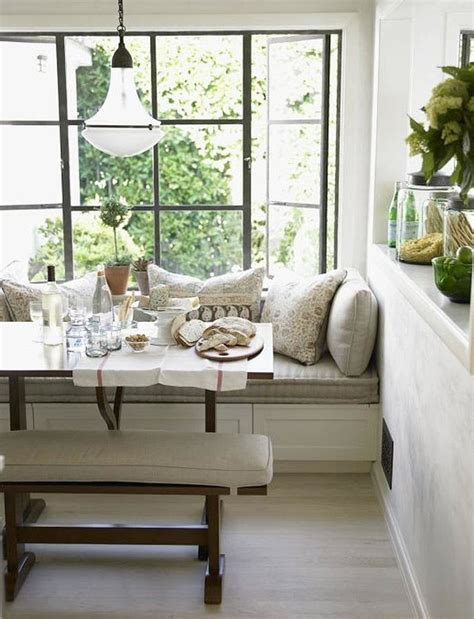 banquette breakfast nook chris barrett white rustic modern window seat banquette