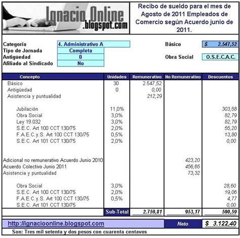 sueldo de cocinero 2016 empleados de comercio liquidaci 243 n de sueldo agosto de