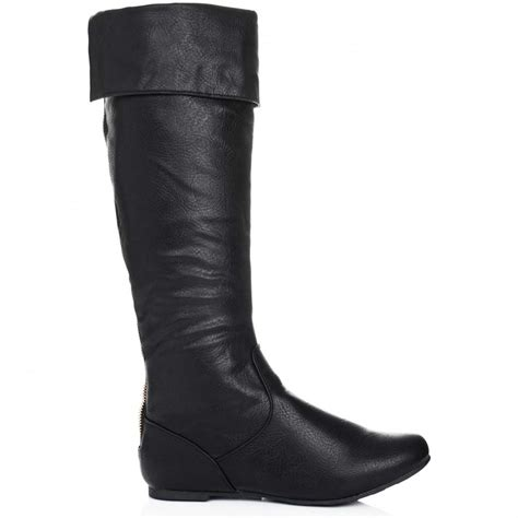 buy midnight knee high slouch boots black leather