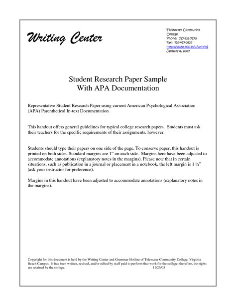 exle of student research paper sle research paper