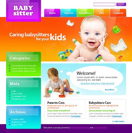 child theme template colorful day care nursery kindergarten website