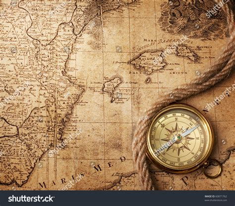 old boat compass old compass on vintage map 18 stock photo 60871762