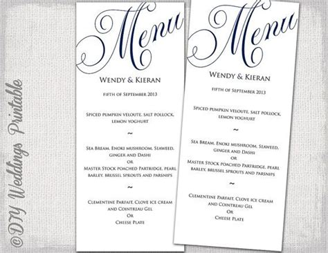 wedding menu template navy blue wedding menu diy wedding