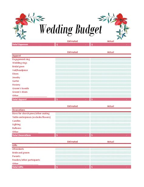 wedding budget planner office templates