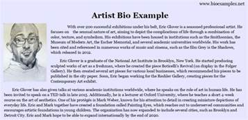 musician bio template artist bio exle bio exles
