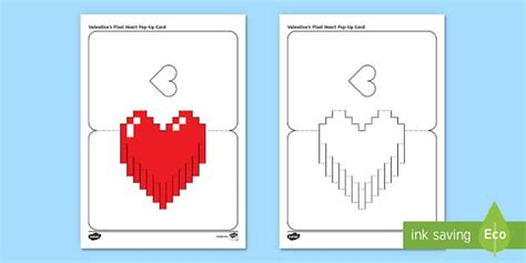 simple valentine s pixel heart pop up card paper craft