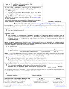 california articles of incorporation template articles of incorporation template california