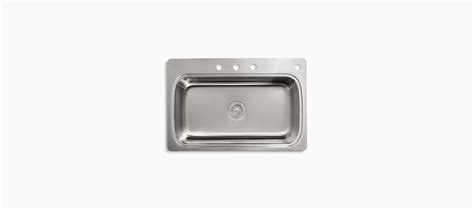 top mount kitchen sink no holes k 3373 4 verse top mount kitchen sink four faucet holes