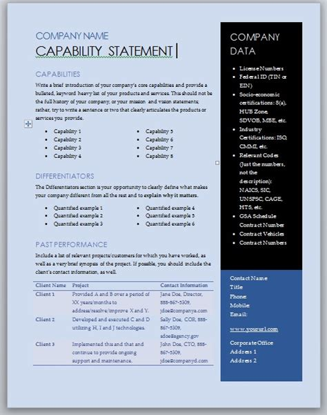capabilities statement template free capability statement template blue and black