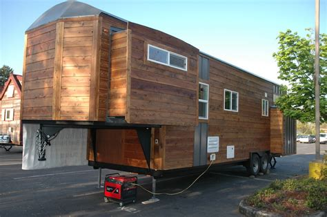 tiny home on trailer tiny house with slide outs built on a gooseneck trailer