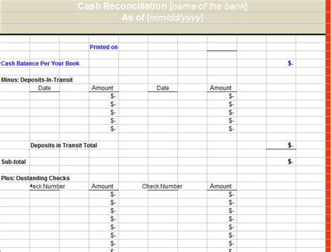 excel bank account template sle bank reconciliation statement template excel