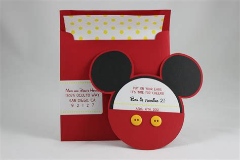 Mickey Mouse Handmade Invitations - mickey mouse invitation