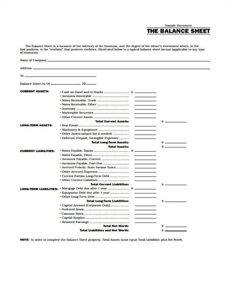 9 balance sheet templates free sles exles format
