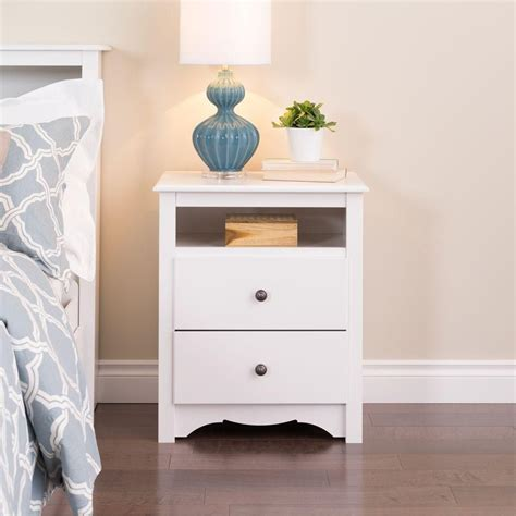 2 drawer nightstand with open shelf prepac white monterey tall 2 drawer nightstand with open