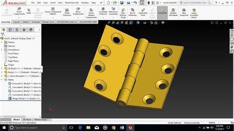 design assembly door hinge  solidworks youtube