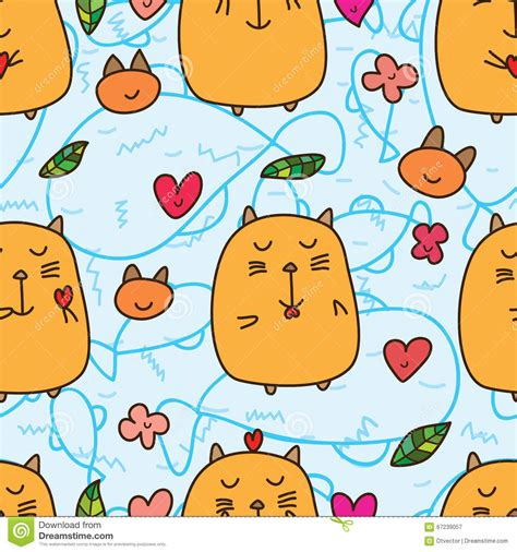 color pattern cat fat cat love seamless pattern stock vector image 67239057