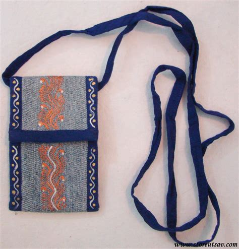 Denim Slingbag Deathnote recycled denim small sling bag blue uttarakhand cloth recycling craft from india