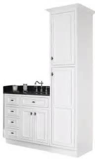 Vanity And Linen Closet Jsi Danbury White Bathroom Vanity Base And Linen Closet