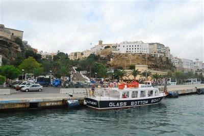 glass bottom boat es castell pirata azul port mahon menorca spain scenic boat