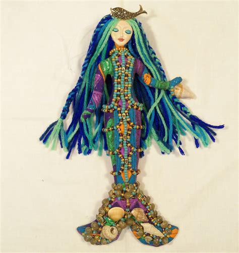 ooak blue lagoon mermaid beaded cloth doll 11in