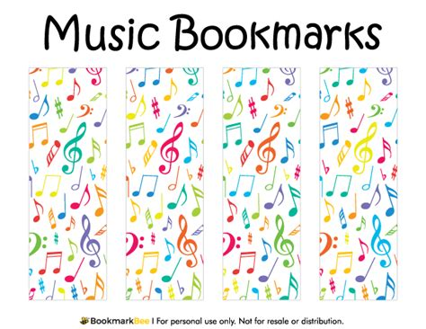 printable bookmarks pdf free printable music bookmarks download the pdf template