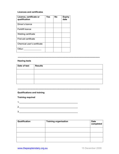employee details form employee details form template australia in word and pdf