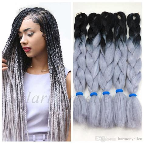 kanekolan hair black white grey stock two tone color synthetic yaki braiding hair 2 tone