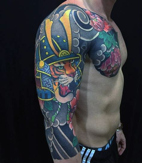 japanese design helmet guys tiger samurai helmet half sleeve japanese tattoo