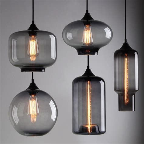 Modern Hanging Ceiling Lights Modern Industrial Smoky Grey Glass Shade Loft Cafe Pendant Light Ceiling L Lights