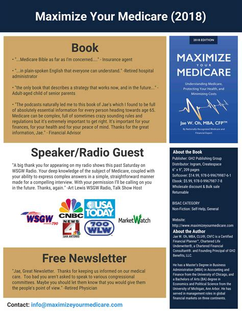 maximize your medicare 2018 edition understanding medicare protecting your health and minimizing costs books medicare and financial expert jae w oh releases new book