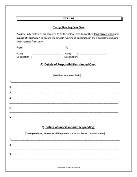 network handover document template charge handover format