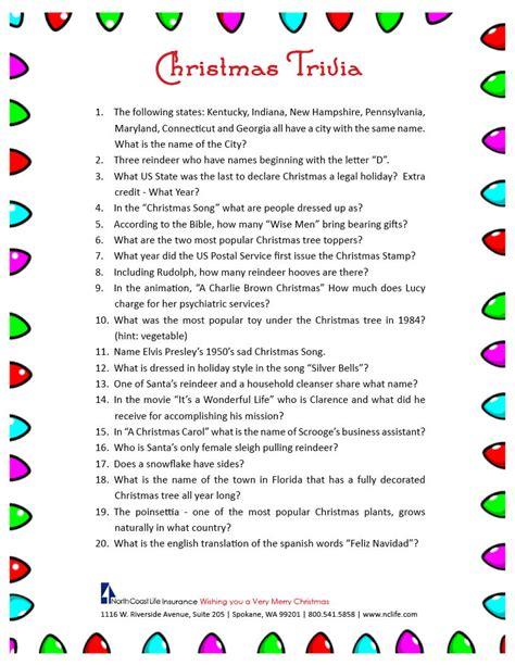 free christmas trivia printable 171 north coast life insurance