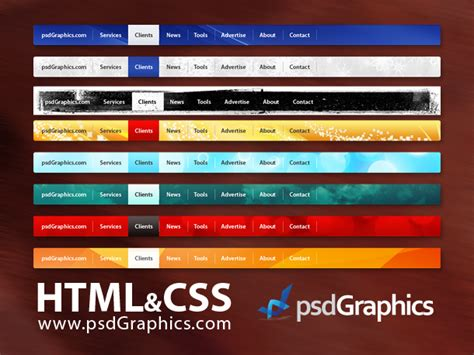 html top bar psd web navigation html and css menus set psdgraphics