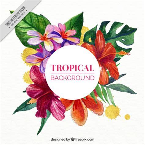 imagenes flores exoticas gratis fondo de flores tropicales en efecto acuarela descargar