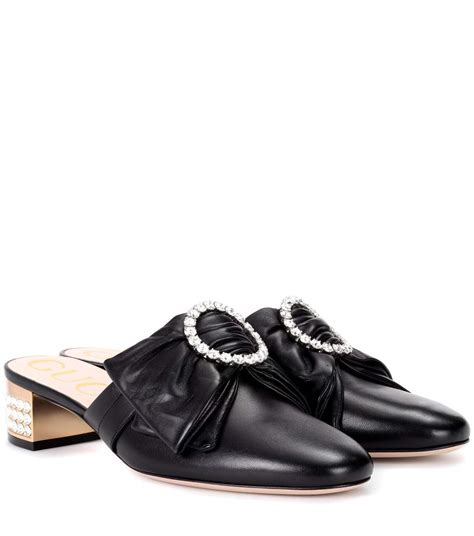 Guccis Bouvier Mid Heel Moccasins by Gucci High Heel Shoes Slippers With Bow Detail With