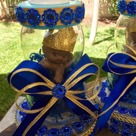 blue and gold centerpiece ideas one royal blue prince baby shower centerpiece