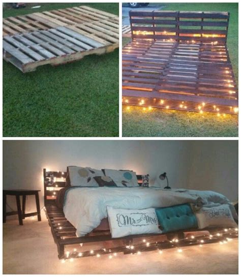 pallet bed frame with lights pallet bed frame with lights diy bed frame on pinterest