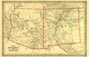 Arizona New Mexico Map by Old State Maps Arizona And New Mexico Nm Az By Colton 1873