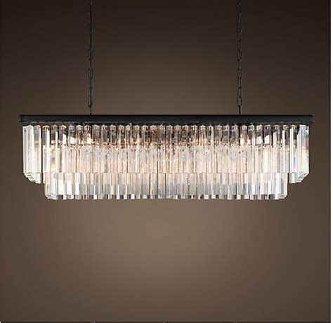 Odeon Glass Fringe Rectangular Chandelier Free Shipping Best Selling Square 1920s Odeon Clear Glass Fringe Rectangular Chandelier