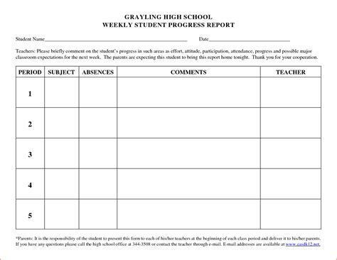 High School Progress Report Card Template by 5 Weekly Progress Report Template Bookletemplate Org